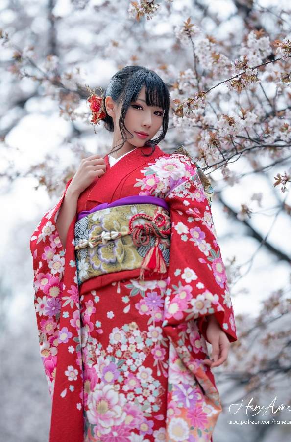 [Cosplay] Hane Ame 雨波 – RED Kimono (Original)