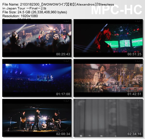 [TV-Variety] [Alexandros] Sleepless in Japan Tour -Final- (WOWOW Live 2021.03.18)