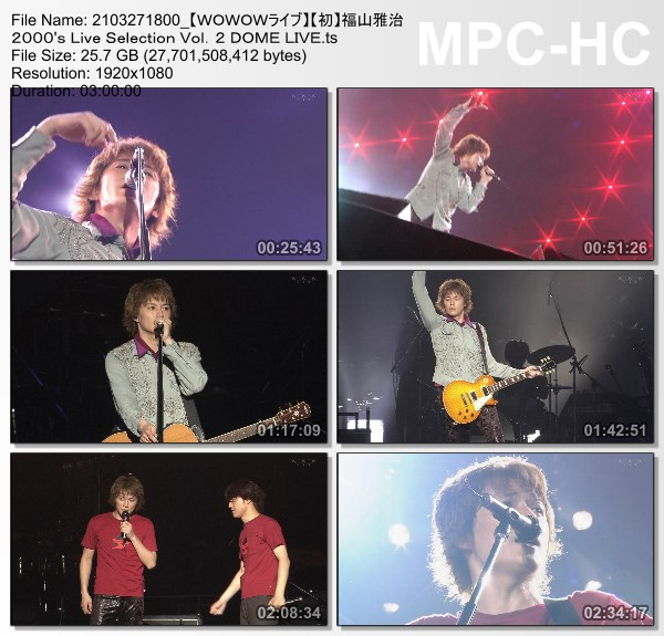 [TV-Variety] 福山雅治 2000's Live Selection Vol.2 DOME LIVE (WOWOW Live 2021.03.27)