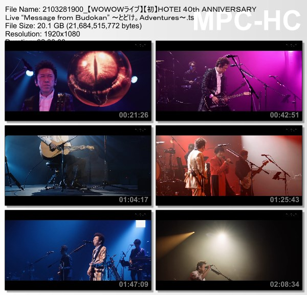 """[TV-Variety] 布袋寅泰 – HOTEI 40th ANNIVERSARY Live """"Message from Budokan"""" ~とどけ。Adventures~ (WOWOW Live 2021.03.28)"""