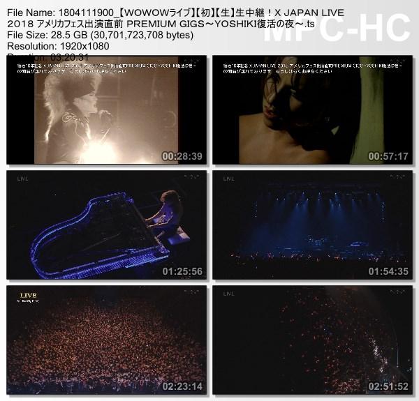 [TV-Variety] X JAPAN LIVE 2018 アメリカフェス出演直前 PREMIUM GIGS 〜YOSHIKI復活の夜〜 (WOWOW Live 2018.04.11)