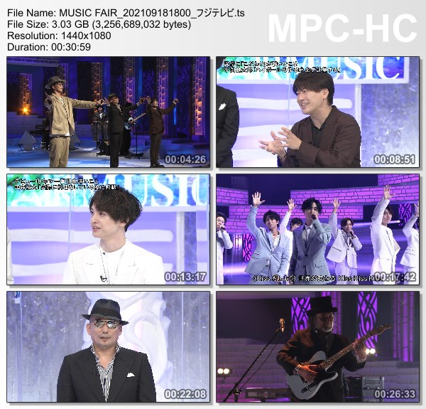 [TV-Variety] MUSIC FAIR – 2021.09.18