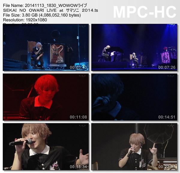 [TV-Variety] SEKAI NO OWARI – Live at SUMMER SONIC 2014 (2014.11.13)